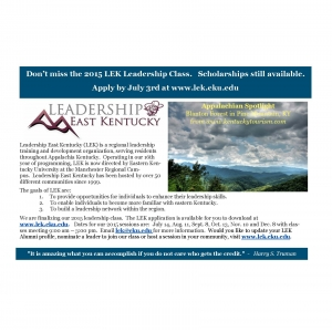 Don't miss the Leadership East Kentucky (LEK) class of 2015